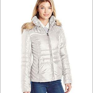 EUC Guess Light Gray Puffer Coat with Hood
